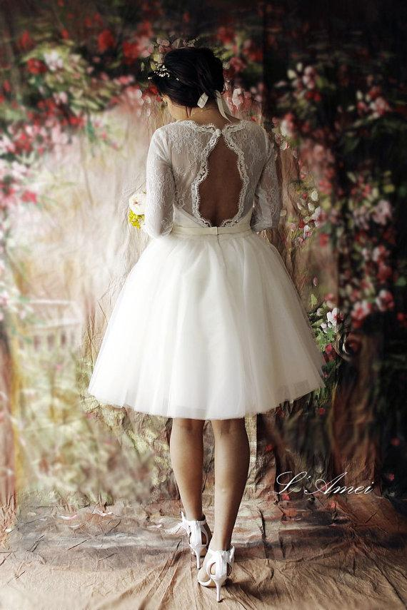Short Lace Wedding Dress With Sleeves And Open Back Tea Length White Bridal