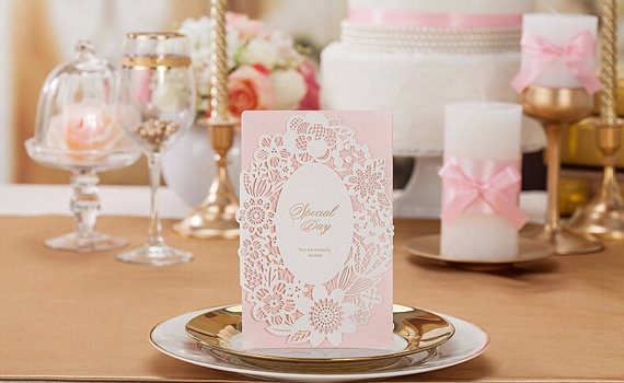 50 romantic pink wedding invitation bridal shower invitation birthday invitation set of 50 pcs new