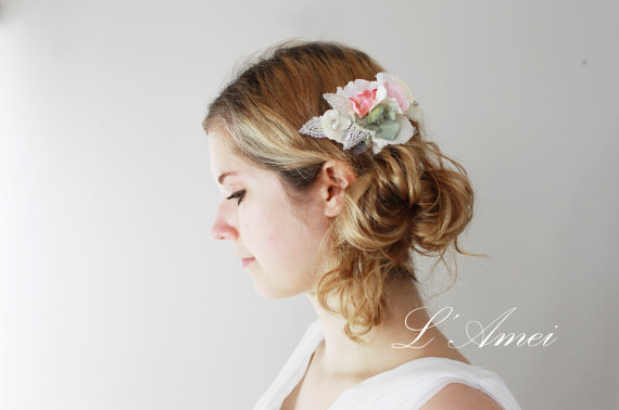 Fascinating Vintage Bridal Wedding Accessories Lace Flower Hair Comb
