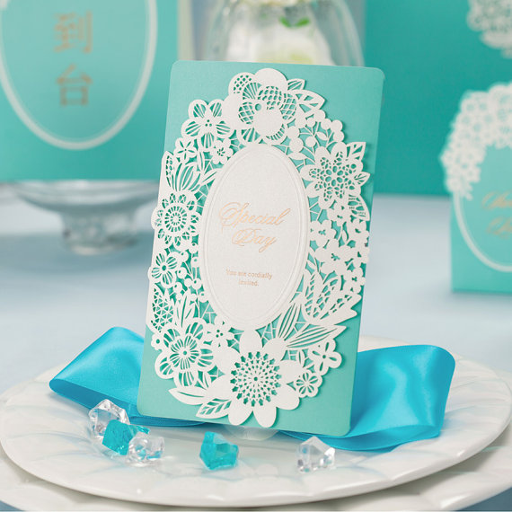 50 Tiffany Blue Laser Cut Wedding Invitation Cards 2230074