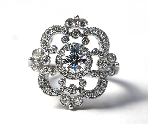 Mariage - Floral - Round Diamond Engagement Ring