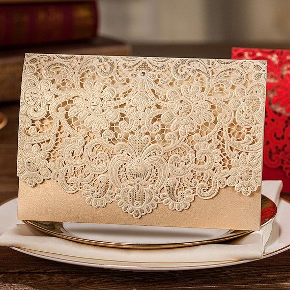 50 Pcs Golden Lace Wedding Invitation With Royal Fl Design Printable Laser Cut Cards