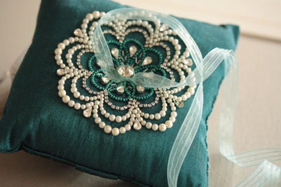 Wedding - Wedding Ring Pillow in lovely blue color