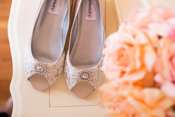 Wedding Shoes Wedge Heel Low Heel Bridal Shoes Embellished With Floral  Ivory French Lace And A Crystal Brooch   New