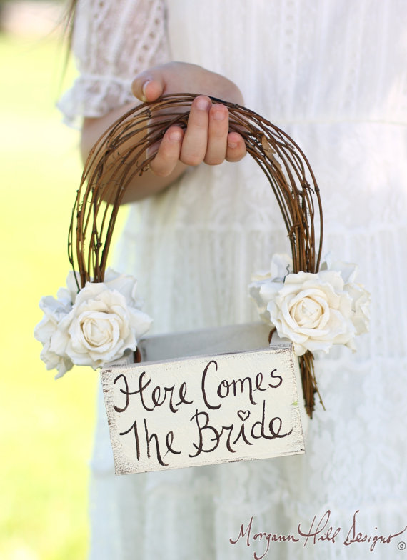 Hochzeit - Here Comes The Bride Flower Girl Basket Rustic Country Wedding (Item Number MHD20231) - New