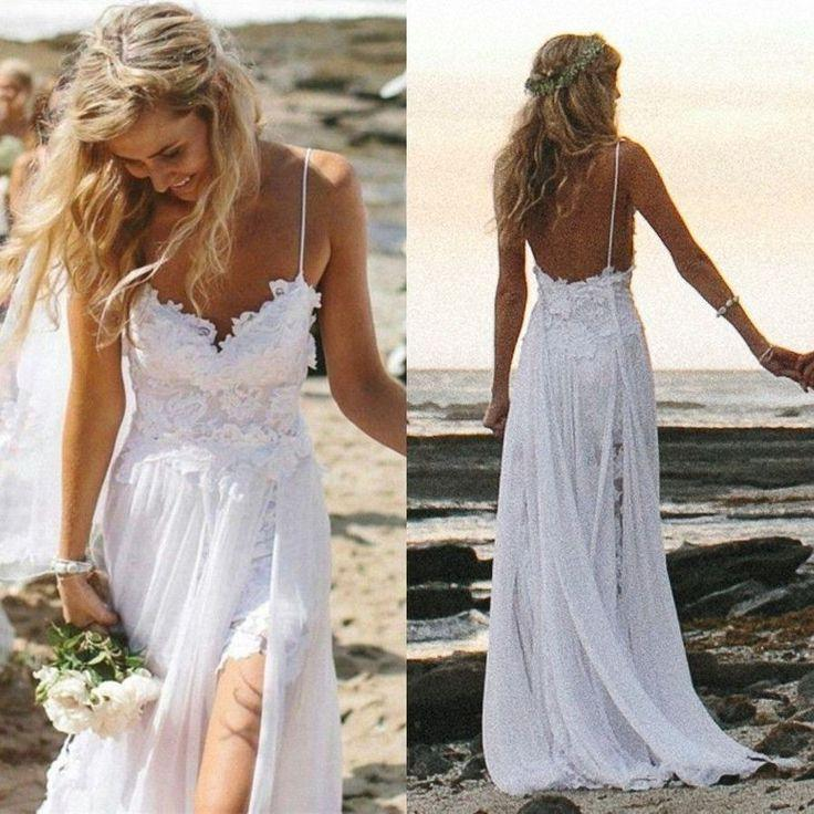 Custom Made Sexy Fancy Beach Wedding Dress Spaghetti Backless White Ivory Lace B 2237216