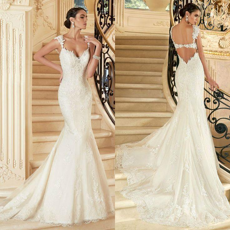 2015 sexy backless lace bridal gown wedding dress custom for Backless wedding dress bra