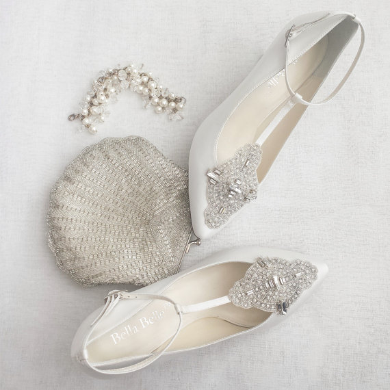 Mariage - Art Deco White or Ivory Wedding Shoes with Great Gatsby Crystal Applique T-Strap Kitten Heel Silk Satin Bridal Shoes - New