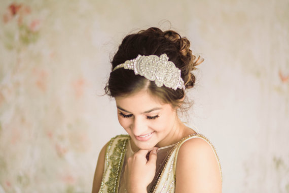 Hochzeit - Bridal beaded headpiece - Lilly  (Made to Order) - New