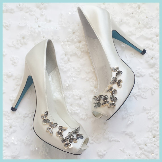 Silver Butterfly Bridal Shoes