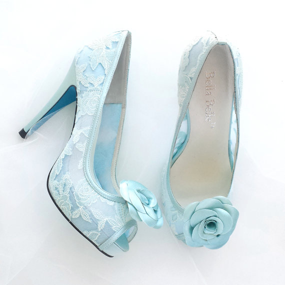 c8a6440106f0e Something Blue Wedding Shoes Mint Floral Lace Peep Toe Bridal Pumps with  Handmade Rosette Shoe Clips - New