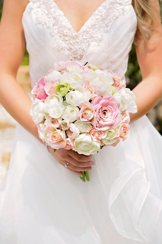 Wedding Bouquet Bride Peach Pink Ivory And Green Ranunculus Roses Bridal By Hollys Flowers