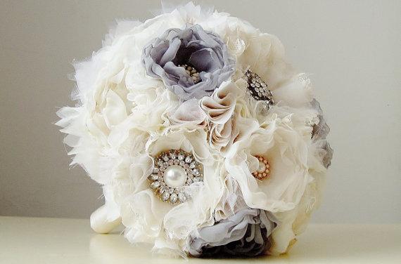 Fabric Wedding Bouquet Handmade Bridal Vintage Brooch