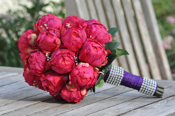 Silk Wedding Bouquet Keepsake Bridal Fuchsia Hot Pink Peony Bud Made Of Flowers New