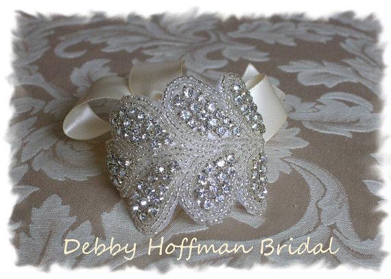 Hochzeit - Rhinestone Cuff Bracelet, Beaded Rhinestone Crystal Bridal Cuff Bracelet, Bridesmaid Jewelry,  No. 3040CB, Wedding Party, Bridesmaids Gift - New