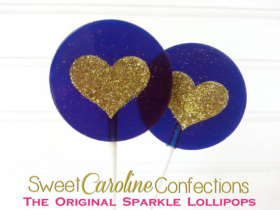 Hochzeit - Navy and Gold Wedding Favors, Heart Lollipops, Gold Favors, Gold Wedding Favor, Lollipops, Sweet Caroline Confections- -Set of Six - New