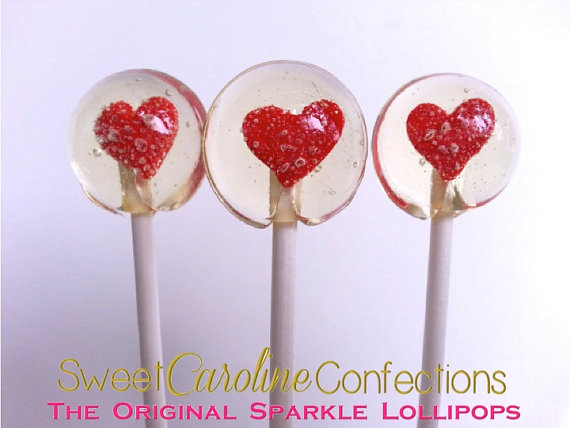 Mariage - Red Heart Lollipops, Lollipops, Wedding Favors, Hard Candy Lollipops, Candy, Lollipops, Sweet Caroline Confections-Set of Six - New
