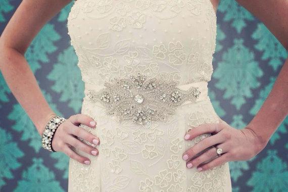 Mariage - Crystal Wedding Sash, Wedding Sash, Bridal Belt, Bridal Sash, Crystal Sash, Crystal Belt, Beaded Sash, Rhinestone Sash, Sash - AMELIA - New