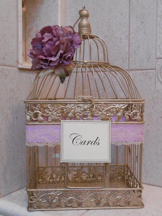 Gold Birdcage Wedding Card Holder Card Box Lavender Wedding Decor Wedd...