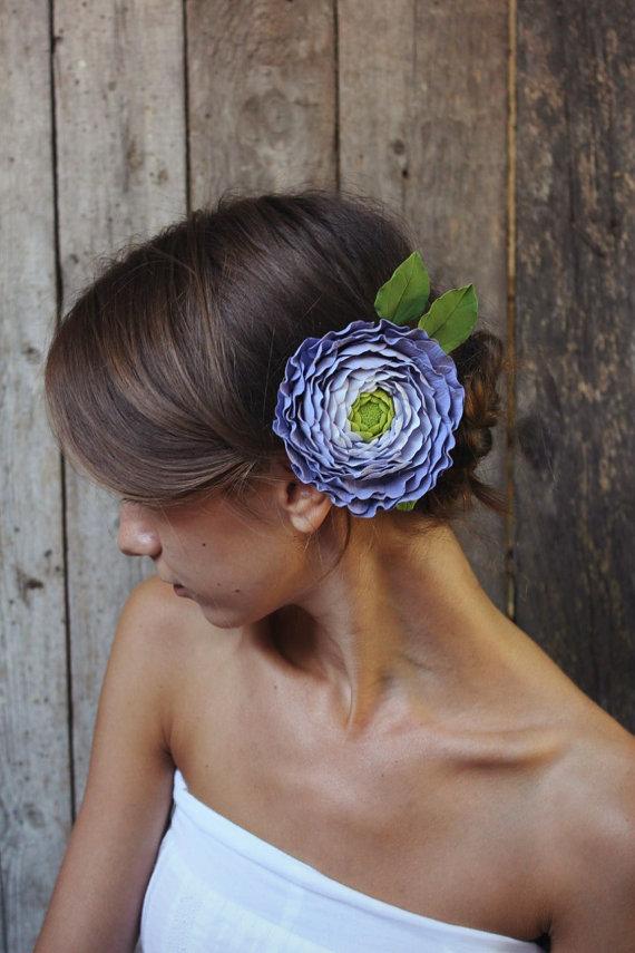 Свадьба - Hair Clip Polymer Ranunculus with Buds