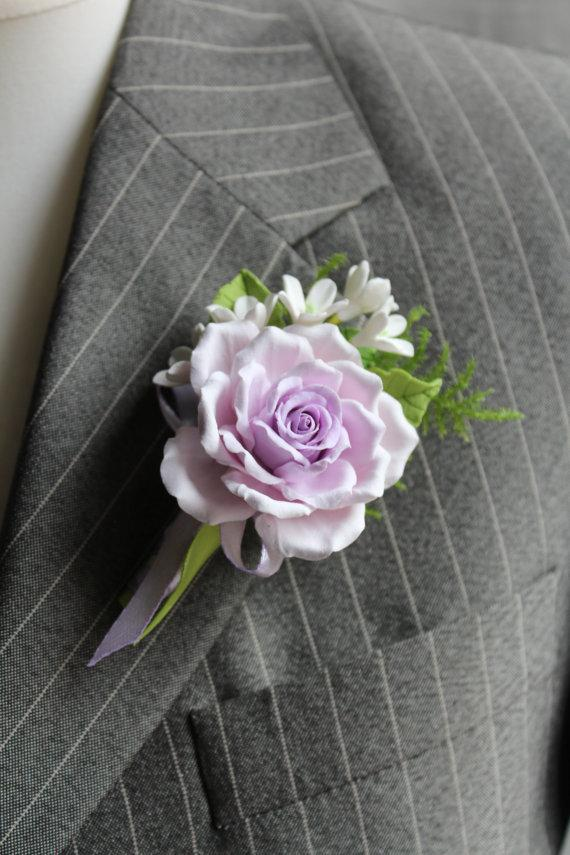 Hochzeit - Polymer clay flower Buttonhole Boutonniere for men