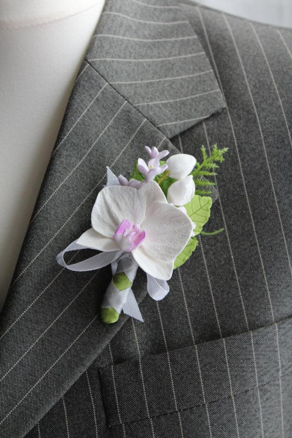 Hochzeit - Buttonhole Polymer clay flower Boutonniere for men