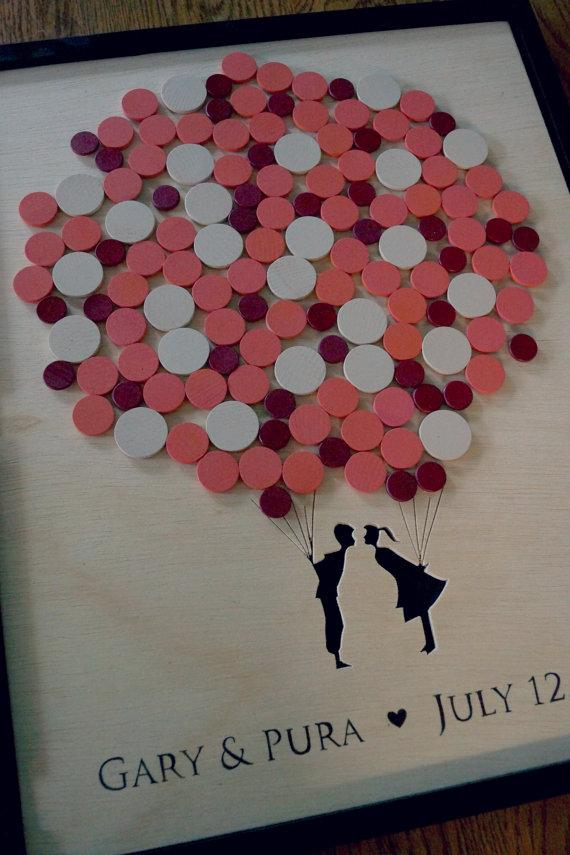 Wedding - Alternative Wedding Guest Book - Couple Balloon Guestbook - Shadow Box - Any Size - Original Personalized Custom Guestbook - New