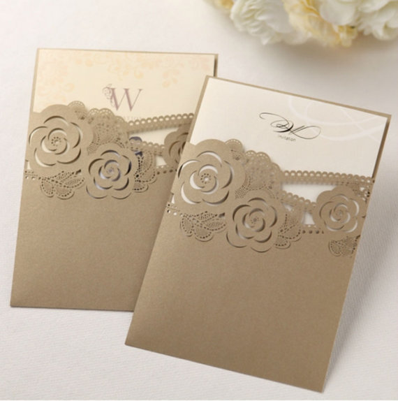 Mariage - Pearl Gold Laser Cut Custom Wedding Invitation