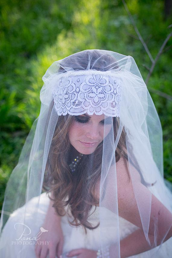 Mariage - Cathedral Tulle Veil with French Style Lace