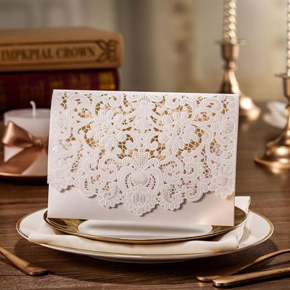زفاف - White Cream Lace Wedding Invitation Card