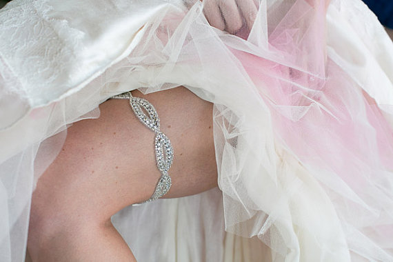 Mariage - Infinity Rhinestone Garter - Bling Diamond Sparkly garter on stretchy elastic - New