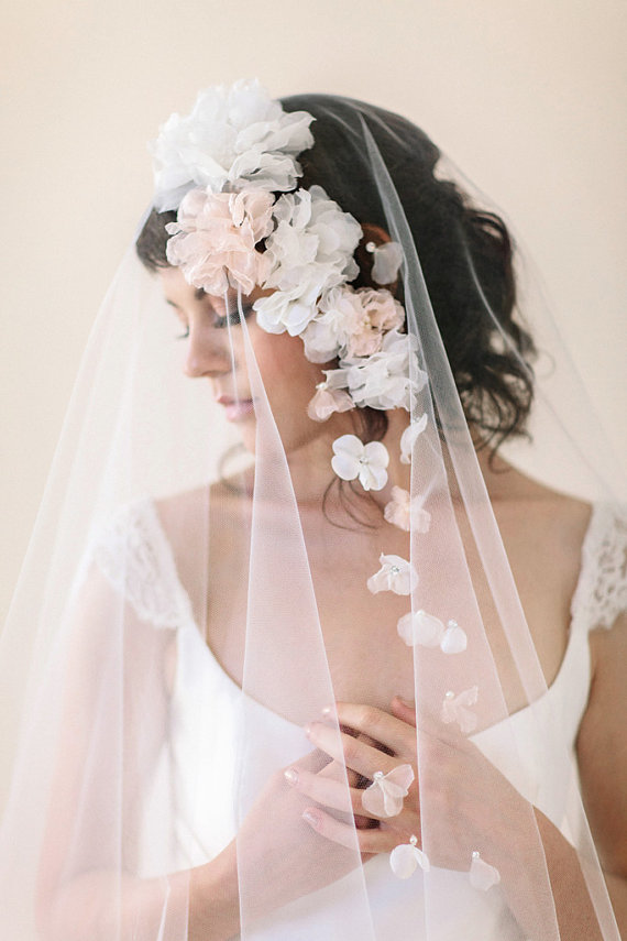 Bridal Flowers In Hair With Veil : Accessories silk flower wedding veil with flowers
