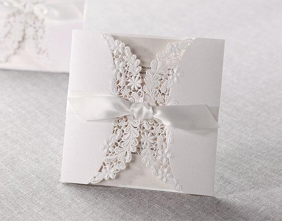 زفاف - Lace and Ribbon Wedding Invitations Laser Cut