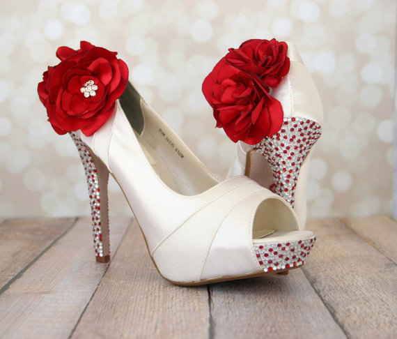 Mariage - Bridal Shoes with Red and Silver Rhinestones