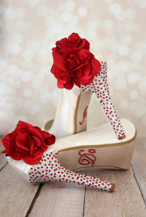 Mariage - Ivory Platform Shoes with Red-Silver Rhinestones
