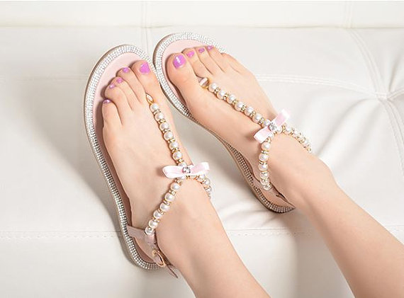 aec0da29d40 Shoe - Beaded Pearl Flip Flop  2260806 - Weddbook
