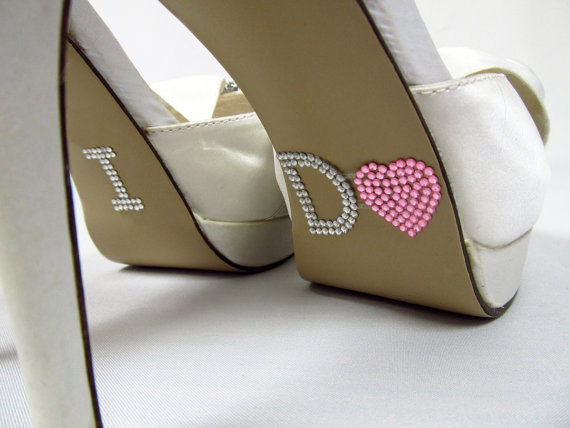 Свадьба - Pink Heart I Do Wedding Shoe Stickers - Rhinestone I Do Shoe Decals for your Bridal Shoes - New