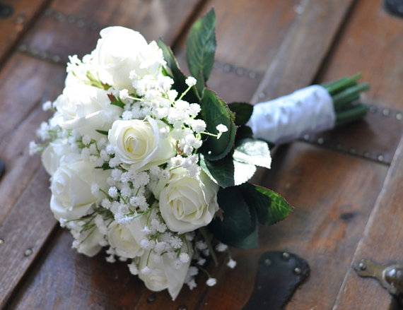 Wedding Flowers Bouquet Keepsake Bridal Ivory White Roses With Babies Breath New