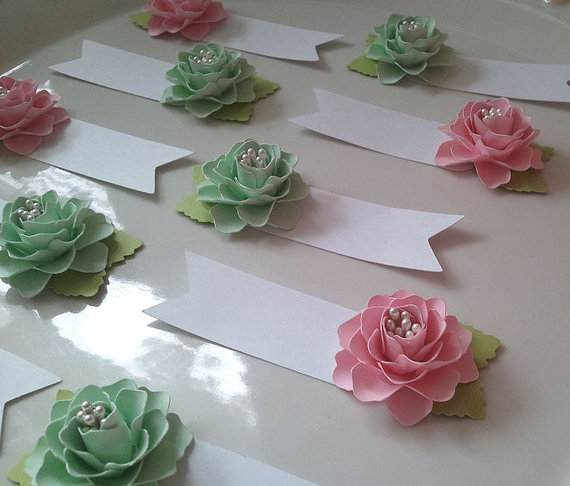 Place cards escort cards paper flowers weddings table place cards escort cards paper flowers weddings table decorations pink and mint made to order set of 50 new mightylinksfo