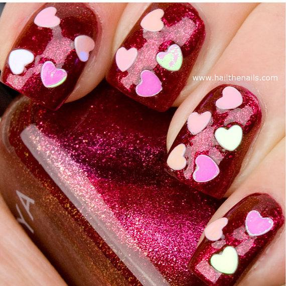 Hochzeit - Pink Heart Confetti Nail Art Decals - Valentines day manicure Love Nails YD05 - New