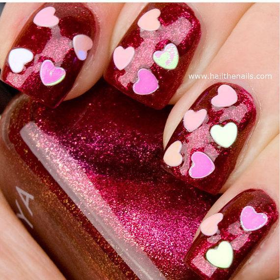 زفاف - Pink Heart Confetti Nail Art Decals - Valentines day manicure Love Nails YD05 - New