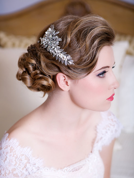 Silver leaf headpiece with crystals and pearls wedding for Where to buy wedding accessories