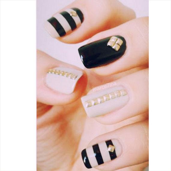 Wedding - 100 pcs gold nail studs, nail decal - New