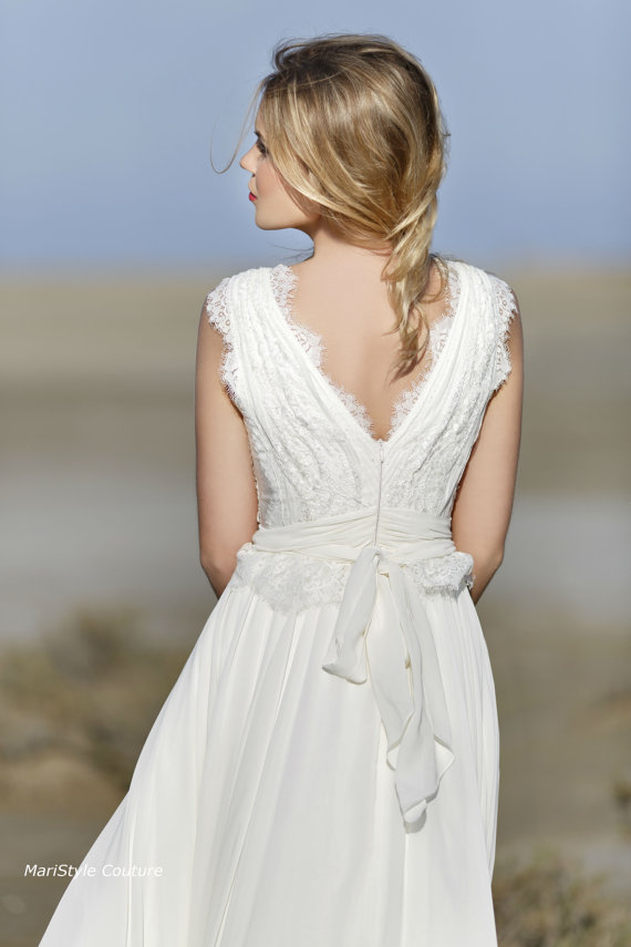 bohemian wedding gown from chiffon french lace boho style dress romantic and dreamy wedding dress new