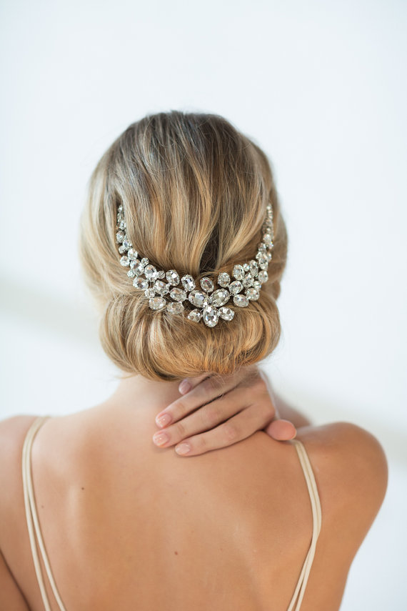 Hochzeit - Bridal Head Piece, Wedding Hair Swag, Bridal Crystal Head Piece - New