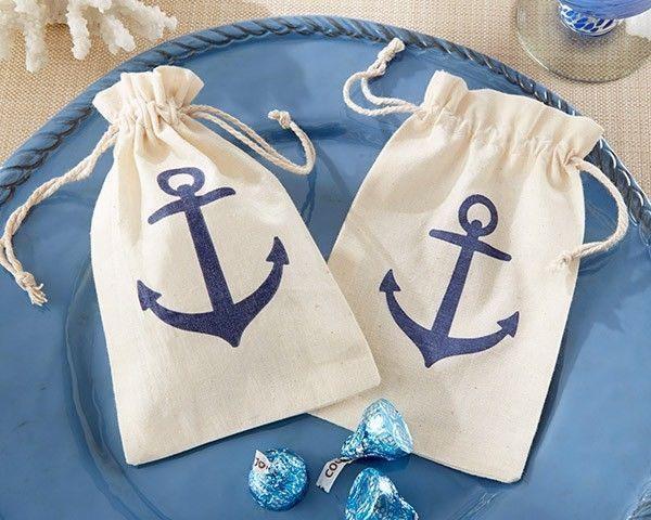 144 voyages anchor muslin bags nautical beach theme bridal shower wedding favors