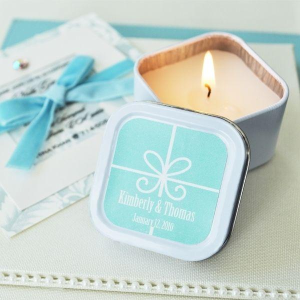 96 personalized square tin gift box theme candles wedding bridal shower favors