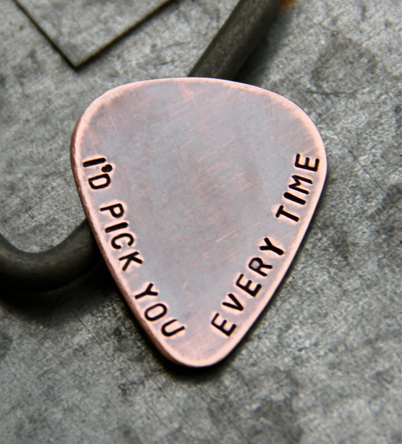 Wedding - Custom Personalized Guitar Pick in Handstamped Copper - Perfect Gift for Dad, Husband or Boyfriend - New