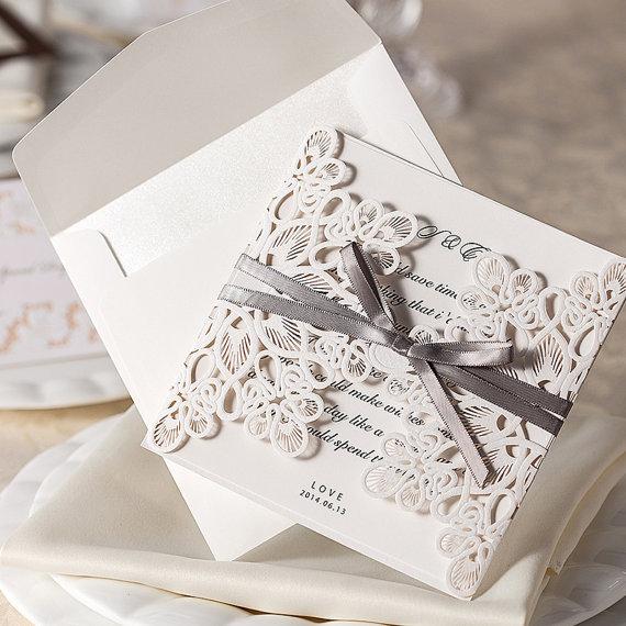 زفاف - Vintage Gray Ribbon Bow Wedding Invitation Cards Sample; Laser Cut Birthday Invitation Sample - New