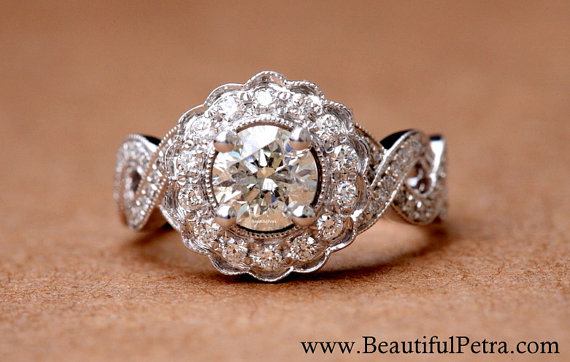 Mariage - Vintage style flower Halo  - 14K Diamond Engagement Ring - 1.00 carats total - with miligrain - Bph029 - New
